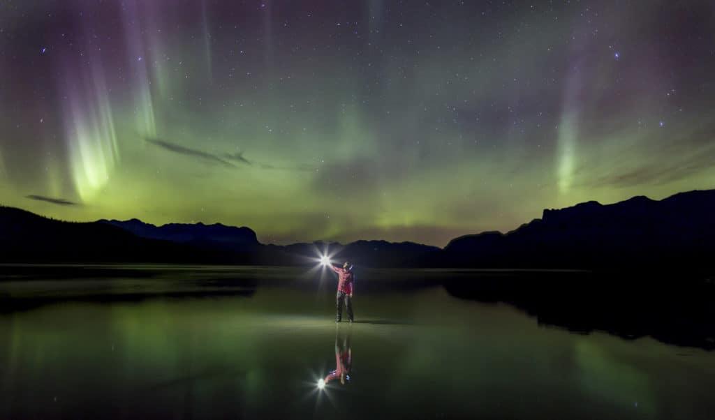 A man meets the Aurora's in Jasper National Park