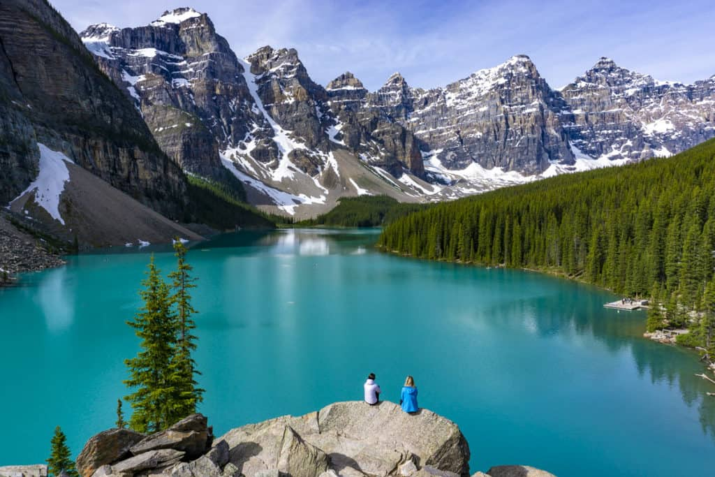 The views of the mountains from the Moraine Lake Rockpile