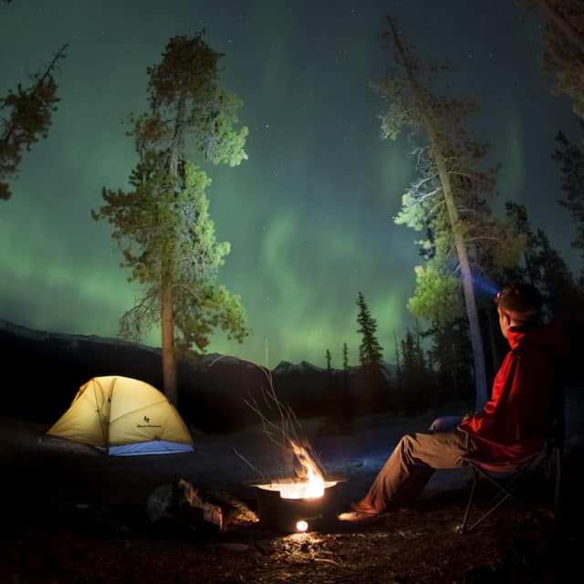 Camping under the Northern Lights in Alberta