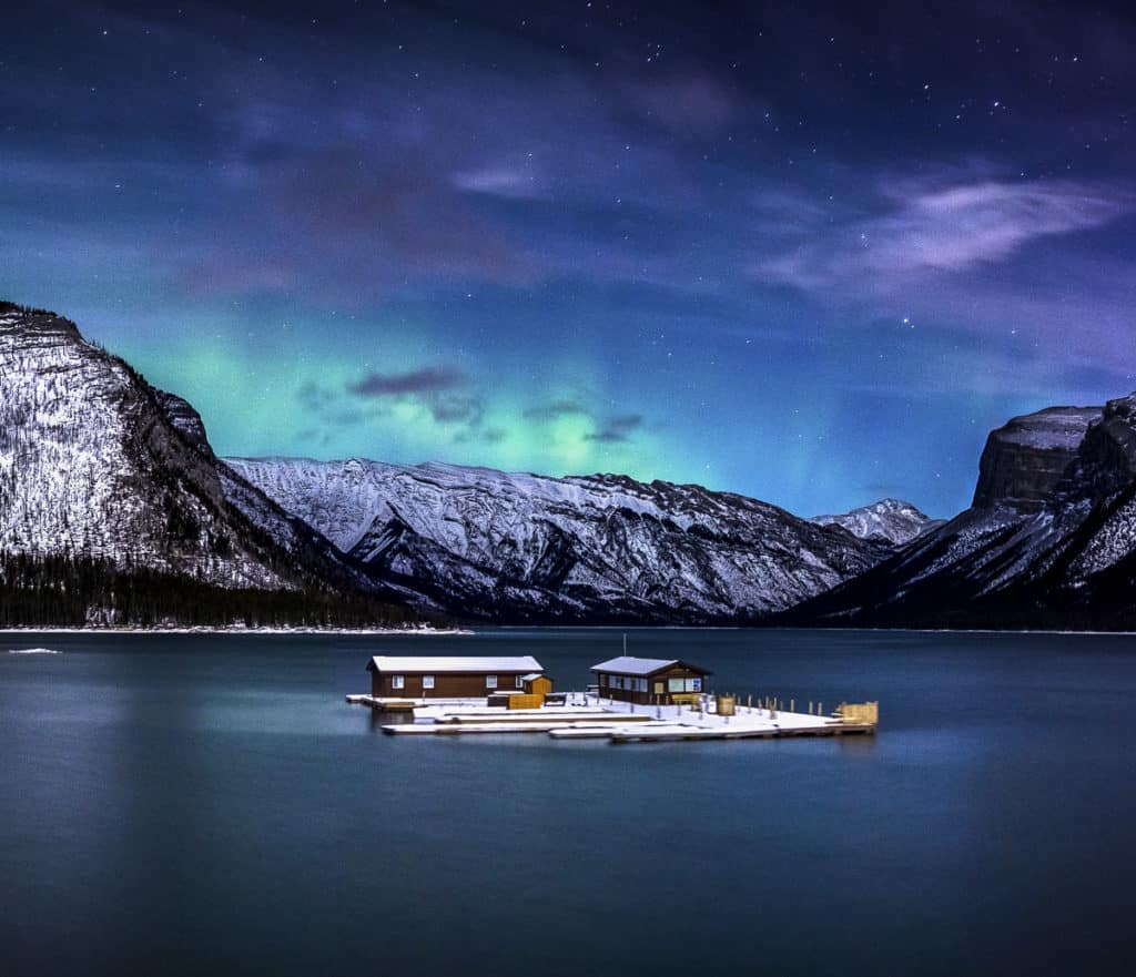 Northern Lights in Banff National Park over Lake Minnewanka