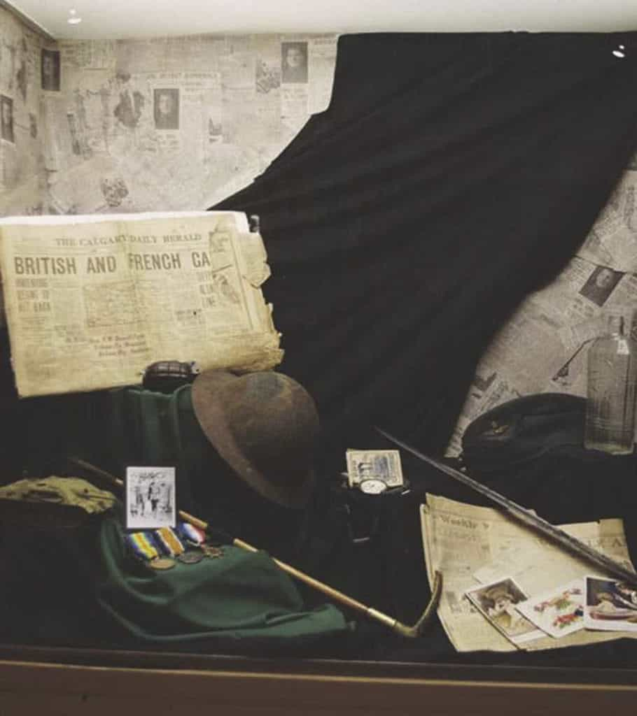 Military exhibit at the Nose Creek Valley Museum
