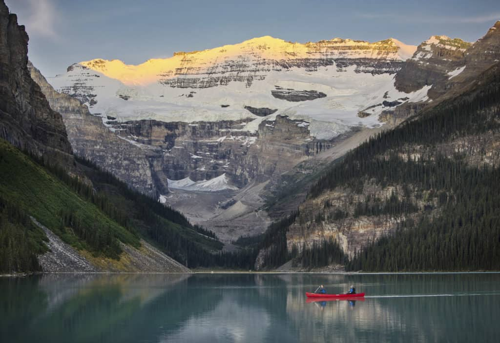 A Red Canoe on Lake Louise