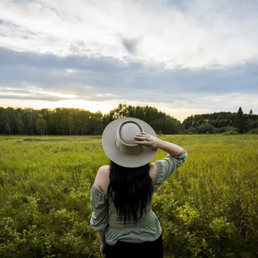 Standing in a field in Lacombe County, Alberta